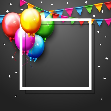 Vector illustration of Balloons and confetti for parties birthday