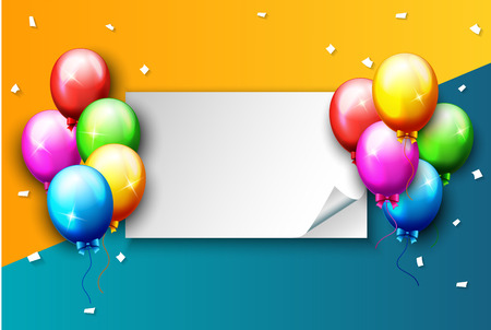 Illustration of balloons and confetti with blank space for text. Illustration