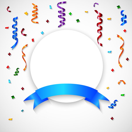 Vector illustration of Colorful Confetti on White Background With Blank Sign