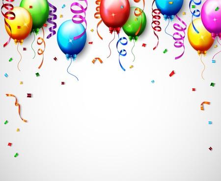 Vector Illustration Of Birthday Balloon With Confetti Background Ilustração