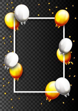 Vektorillustration der Feier-Partei-Fahne mit goldenen Ballonen und Konfettis Vektorgrafik