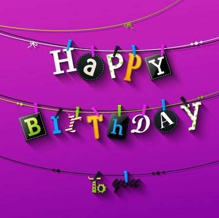 Vector illustration of Birthday card with Clothespin and colorful letters hang on rope