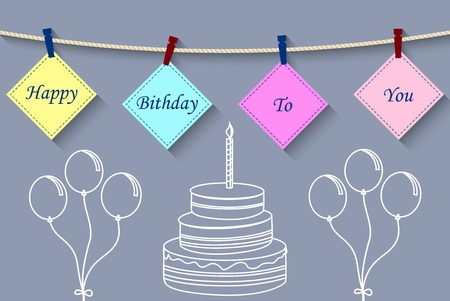 Vector illustration of Birthday card with clothespin and colorful letters hang on rope. Stock Illustratie