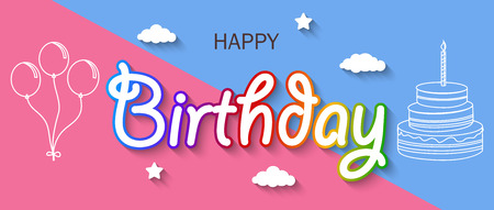 Vector illustration of Birthday card with clothespin and colorful letters hang on rope. Vectores