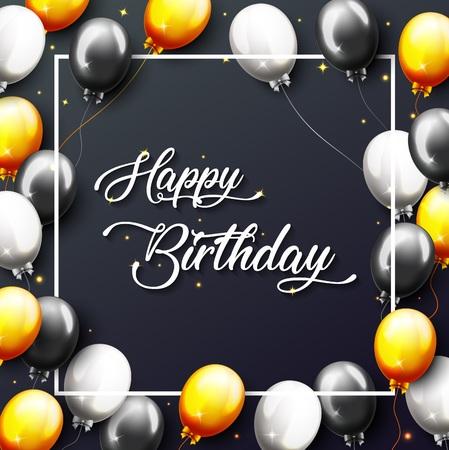 Vektorillustration der Feier-alles- Gute zum Geburtstagparty-Fahne mit goldenen Ballonen