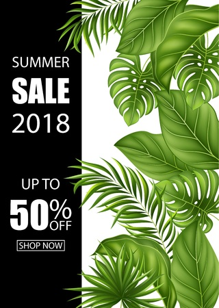 Vector Illustration Summer sale banner with tropical leaves for promotion  イラスト・ベクター素材