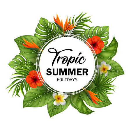 Vector Illustration Summer sale banner with tropical flowers and leaves for promotion