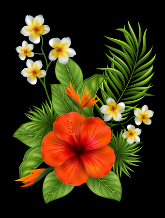 Vector Illustration Beautiful flowers and leaves