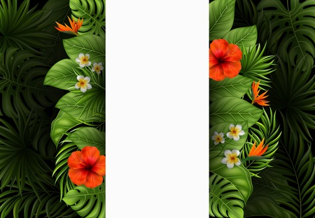 Vector illustration of Beautiful flowers and leaves with blank sign