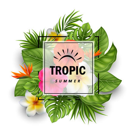Vector illustration Of Summer sale banner with tropical flowers and leaves for promotion
