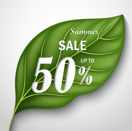 Vector illustration Of Summer Sale. Text on a Green Leaves Background