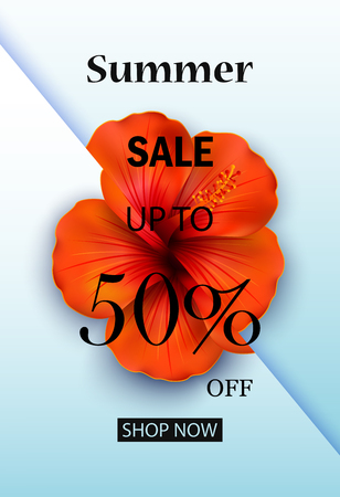 Vector illustration of Summer sale discount End of season banner on Blue background Illusztráció