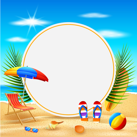 Vector illustration of  Hello Summer background. Beautiful summer beach background