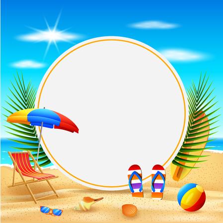 Vector illustration of  Hello Summer background. Beautiful summer beach background