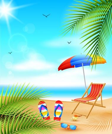 Vector illustration of Sea panorama. Beautiful summer beach background Illusztráció