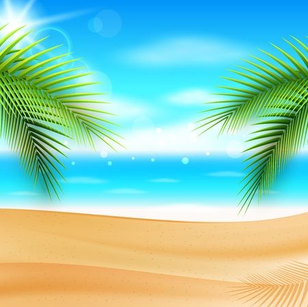 Vector illustration of Sea panorama. Beautiful summer beach background Illustration
