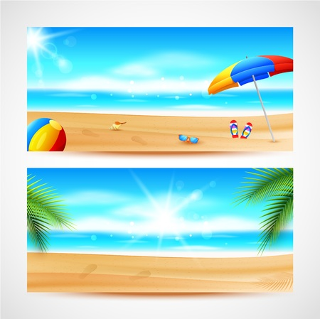 Vector illustration of  Sea panorama. Beautiful summer beach background