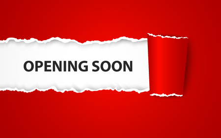 Opening soon with paper sign Stock Illustratie