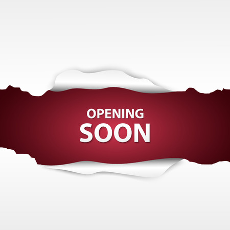 Opening soon with paper sign Illustration