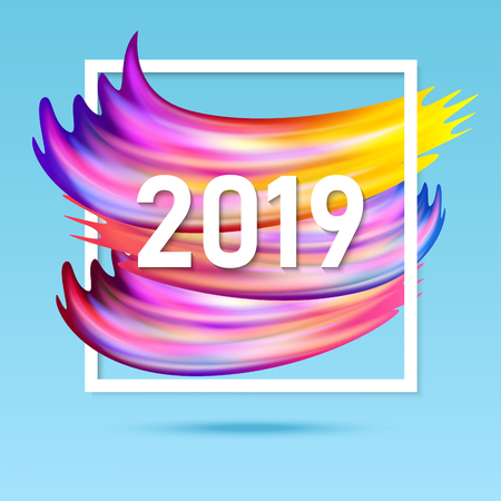 Illustration of 2019 New Year on the of a colorful paint design element