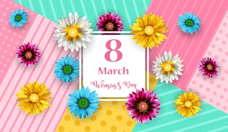 Vector Illustration Of Women's Day, March 8. Happy Mother's Day Stock fotó - 117103825