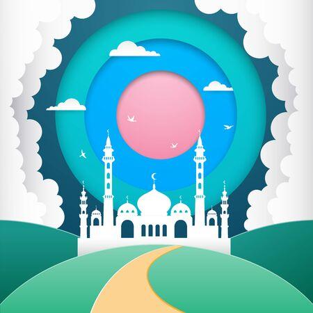 Ramadan Kareem greeting card. flat design