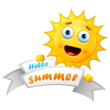 Hello Summer  with happy sun cartoon Stock Illustratie