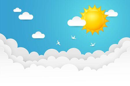 Summer  with happy sun cartoon Stock Illustratie