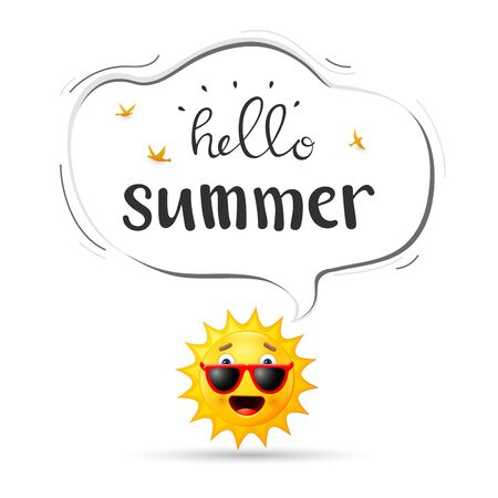 Summer background with happy sun cartoon