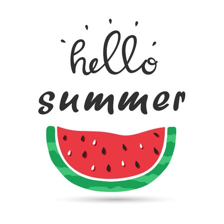 Hello summer lettering with watermelon on white Illustration