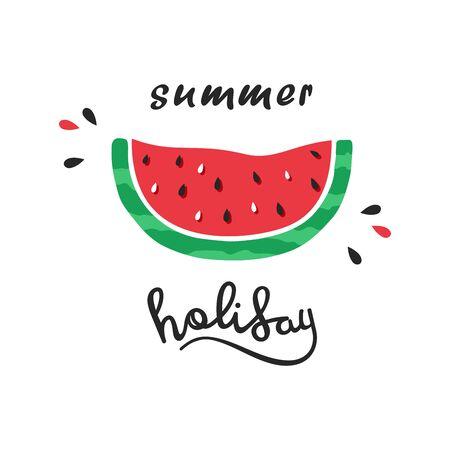 Hello summer lettering with watermelon Stock Illustratie