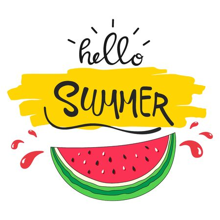 Vector illustration of Hello summer lettering with watermelon