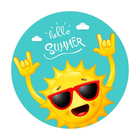 Vector illustration of Summer with happy sun cartoon Illustration
