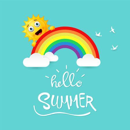 Vector illustration of Summer background with happy sun cartoon Stock Illustratie
