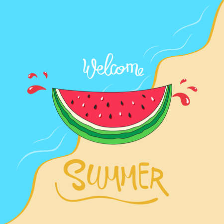 illustration of Hello summer lettering with watermelon
