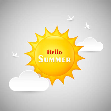 illustration of Hello summer isolated on white background