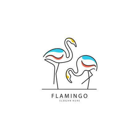 Vector illustration of Flamingo logo design Stock Illustratie