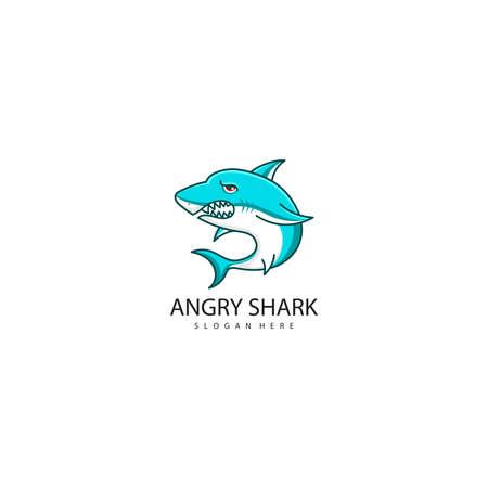 Vector illustration of Angry shark logo design Stock Illustratie