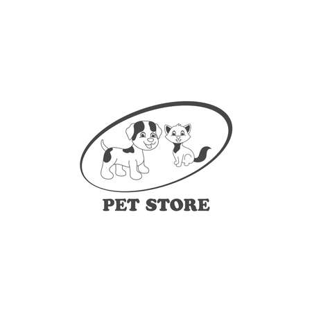 Vector illustration of cartoon pet shop logo design