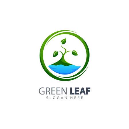 Vector illustration of leaf eco green logo design concept template