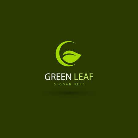 illustration of leaf eco green logo design concept template
