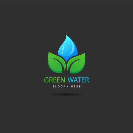 illustration of leaf eco green logo design concept template