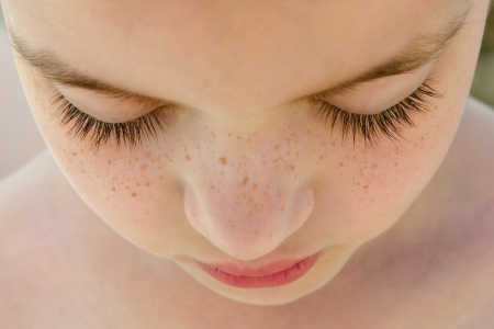 freckle: Beautiful Freckle Face Girl with closed eyes