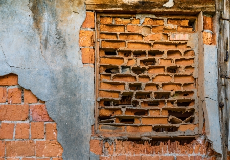 Ancient brick wall of old fractured decaying Stock Photo - 22874455