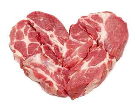 pork meat in heart form