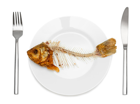 Fish skeleton on the plate - symbol for food shortage and misery. Isolated on white . Фото со стока