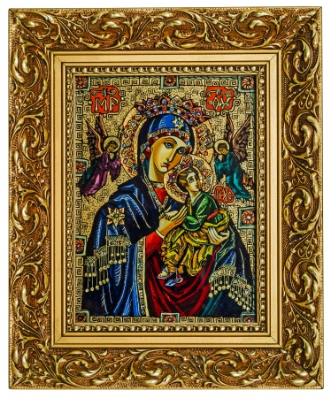 orthodox: Antique icon of a Mother of God (Mary) and child (Jesus Christ) with Angels