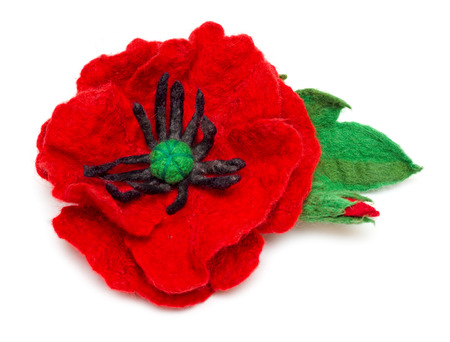 Needle felting poppy with bud and leaf isolated on white