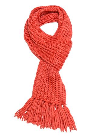 白で隔離される赤い繊維スカーフ