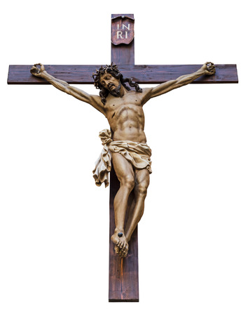 jesus christ crown of thorns: Crucifixion of Jesus Christ isolated on white background Stock Photo